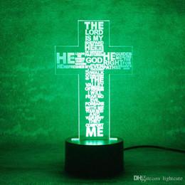 2019 deus da lâmpada Noite remoto 16 cores LED 3D USB Visual Night Light Moda Letters Table Lamp Criativo Deus Cruz Lamp Luminária presente cabeceira Dormir desconto deus da lâmpada