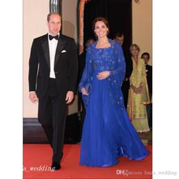 Canada 2019 Royal Blue Kaftan Robe De Soirée Kate Middleton Appliqué Long Formelle Occasion Spéciale Robe De Bal Parti Robe Taille Plus robe de fête cheap middleton dresses Offre