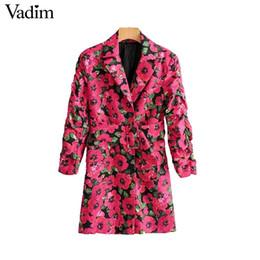 2019 chaquetas de un solo botón para mujer Vadim Blazer con estampado floral para mujer Bolsillos con un solo botón Diseño de fajas Chaqueta de oficina para mujer Chaqueta de abrigo para mujer Ca526 SH190826 chaquetas de un solo botón para mujer baratos