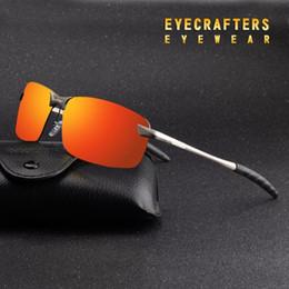 occhiali da sole arancioni sportivi Sconti Arancione Mens UV400 occhiali da sole polarizzati di sport di guida occhiali a specchio senza orlo metallo Eyewear 3043DM