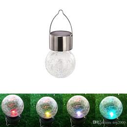 Luz solar crepitante online-Solar Powered Color Changing exterior llevó la bola de luz Crackle Glass LED Light Hang Garden Lawn Lamp Yard Decorate Lamp 3123