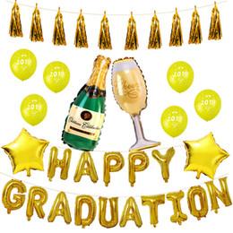 globos de graduación Rebajas Temporada de graduación 2019 Conjunto de globos Graduación Happy Aluminum Film Party Balloons Wholesale