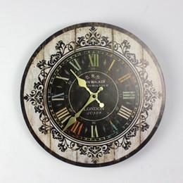 Horloges murales en bois rustiques en Ligne-Hot vente en gros-Hot silencieux rétro en bois décoratif rond horloge murale Antique Vintage rustique horloges murales haute qualité en gros