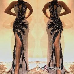 venda organza sashes Desconto Sexy halter sereia vestidos de baile 2019 frisos de bainha vestidos de noite à venda tapete vermelho vestido de festa de coquetel bola celebridade vestido formal