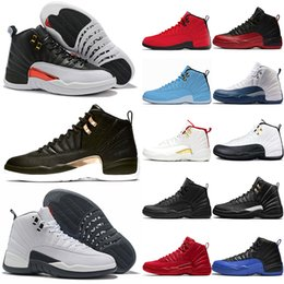 Продажа баскетбольной обуви онлайн-ВоздухИорданияРетро 12 Белый Серый 12s Мужчины Баскетбол обувь Черная Полночь Reverse такси Mens Trainer Спортивный Спорт Sneaker Интернет Продажа