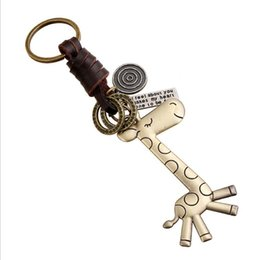 Giraffenschlüsselring online-Mode kreative keychain männer und frauen kleines geschenk Legierung niedliche giraffe Retro Weaving Rindsleder legierung schlüsselanhänger schlüsselanhänger