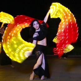 2019 fans de danse du ventre 90 * 180 cm Adulte Lumineux Jaune Orange Rouge Lumière LED Fan Voiles Écharpe pour les Femmes Danse orientale Danse Du Ventre Danse Accessoire fans de danse du ventre pas cher