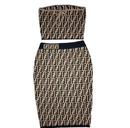 Argentina Estación europea 2019 bolsa de punto de verano traje de falda de la cadera FF camisa de manga corta + media falda dos piezas falda de seda del hielo mujeres Suministro