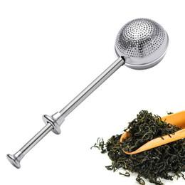 2020 filtri metallici Colino da tè sfera di tè Infuser Spingere in acciaio inossidabile riutilizzabili metallo Tea Infuser allentati Leaf Green Teas setaccio della cucina della casa Bar Drinkware Strumento filtri metallici economici