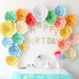 Cenário de parede de aniversário on-line-20 cm diy papel flor cenário decoração da festa de aniversário de casamento da parede da flor decorativa sobremesa bar decoração artificial flor