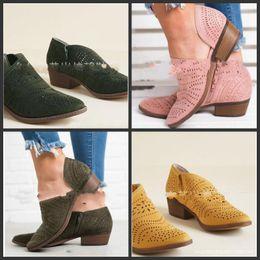 Tagliare stivali più corti online-Scava fuori stivaletti medio tacco grosso scarpe cut-out caviglia primavera poco stile retrò multi colore moda 38wlf1