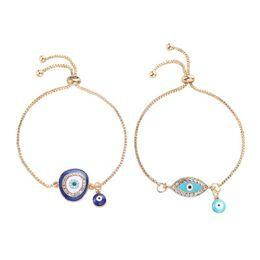 Argentina Cadenas de Lucky Crystal Blue pulseras hechas a mano de oro mal de ojo turco Lucky Charm regalos de joyería exquisita pulsera de Navidad Suministro