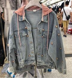 2019 início do outono nova versão coreana do selvagem casual faculdade vento destacável com capuz rosa frisado jaqueta casaco jeans de