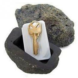 Regalos divertidos para el hogar online-Clave seguro escondite hueco secreto escondido divertido fangoso piedra piedra caja caja regalo de seguridad del jardín de casa