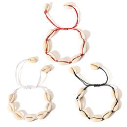 Cavigliere a braccio online-Branelli naturali della cavalletta del braccialetto del cavigliere di Shell Fatti a mano dei braccialetti della corda regolabile dei monili della spiaggia hawaiana dei capelli accessori 2019