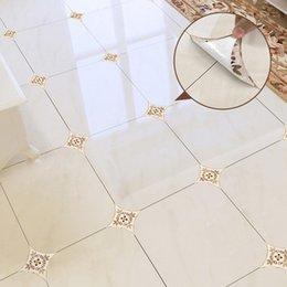vinylbodenkleber Rabatt 35pcs / set selbstklebende PVC Keramik-Fliese Aufkleber wasserdichte Wand Aufkleber Kunst Diagonal Boden Aufkleber Küche Hausdekoration