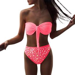 cb1fe03352cbf Tube Top Bow Bikini Women Multicolor Optional Split Pushup Swimsuit Summer  High Waist Set Off Shoulder Beachwear  YL1