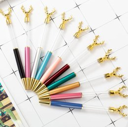 self writing pen Coupons - NEW DIY Empty Tube Deer Head Metal Ballpoint Pens Self-filling Floating Glitter Dried Flower Crystal Pen Christmas Student Writing Gift SN