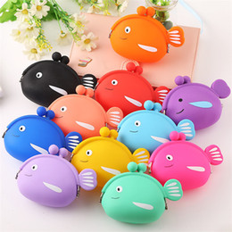Bolsa de peixe on-line-Silicone Candy Color Coin Return Creative Cute Cartoon animals Small Wallet 17 style Mini little fish Pouch Bag T9I00291