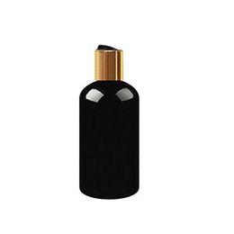 Bottiglie di toner online-(30 pezzi) Bottiglie di toner di plastica nere rotonde da 250 ml con tappi a vite dorati, shampoo cosmetico vuoto per oli essenziali di ambra