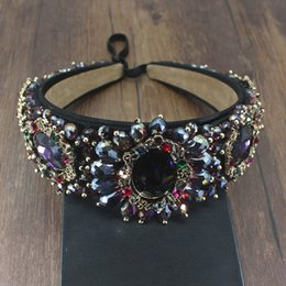 2020 gemas de casamento roxas Jóias de luxo barroco Vintage Handmade Royal Purple Black Crystal Gem Headband nupcial do casamento Rhinestone mantilha Pageant cabelo gemas de casamento roxas barato