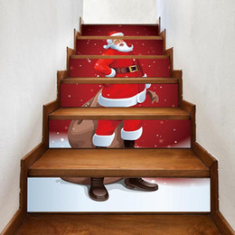 Pegatinas decoracion escaleras online-6pcs / set impermeable de PVC de pared de escalera Pegatinas del muñeco de Santa Claus Navidad de suelo Escalera pegatinas de Navidad decoración del hogar