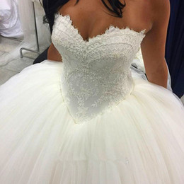 elástico de cetim vestido de bola vestidos de noiva Desconto Romântico Lace Princesa Vestidos De Novia Vestido de Noiva Vestidos de Baile 2020 Querida Espartilho Voltar Tule Partido Vestido de Noiva Vestidos de Noiva Longo