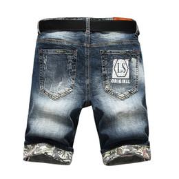 3ad29e1f66 Verano Ocasional Fino Corto Homme De Marque Coreano Juventud para hombre  Pantalones cortos de mezclilla Elasticidad Distressed Skinny Jeans Hombres