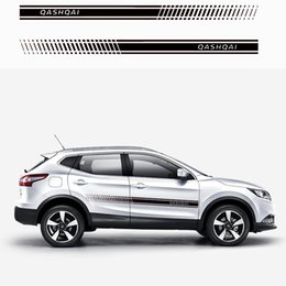Etiqueta do corpo de nissan on-line-2 pcs Elegante corpo do carro adesivo de vinil corpo decalque Side Sticker Stripes Adesivos Para Nissan Qashqai