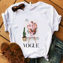 t-shirt di kawaii Sconti Maglietta Vogue Lady Summer White Lady Do More, make You Happy T-Shirt Donna Morbida maglietta estiva 100% cotone Harajuku Kawaii
