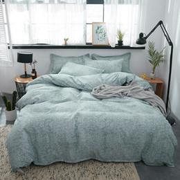 Grüne bettdecken online-Bettwäsche-Sets Aloe Cotton Grün Farbe Bettbezug Flachbettlaken Tröster Bettwäsche-Set mit Pillowcase Home Textile
