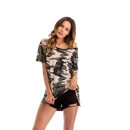 Sciogliere le donne online-Camouflage Print Top Camicetta casual allentata Donna Summer One-Shoulder Off Shouder Strip Fashion Taglie forti Midi Length