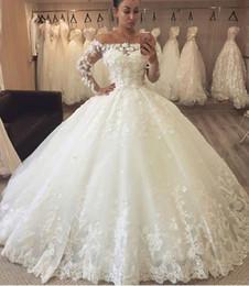 fotos vestidos bolero Desconto Luxo Lace vestido de Baile Vestidos de Noiva Vestidos de Noiva 2019 Off ombros 3D Flores Florais Ilusão Mangas Compridas Tribunal Trem Barato