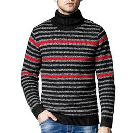 свитер k Скидка MR K свитер пуловер мужская водолазка свитер мода повседневная контраст цвет полосатый молодежь теплый тонкий вязаный мужской