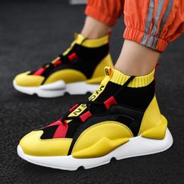 Sapatos de tênis altos tops on-line-A parte superior alta Sock Sneakers para Running Shoes Homens esporte sapatos masculino Sports Men Trainers amarelas Ténis Calçado raça Basket A-342