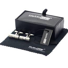 Silberne wischen online-MeMolissa Display Box Manschettenknöpfe Silber Farbe Rechteckige Manschettenknöpfe Hersteller Peeling Mens Free Tag Wipe Cloth