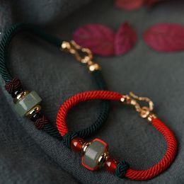 chinesisches rotes armband Rabatt Schmucksachen des chinesischen Knotenpaares Armbänder der roten Schnur Jade bördelten Armbänder für Paare heiße Art und Weise