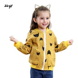 chaqueta de patrón de gato Rebajas Ropa de bebé Patrón de Dibujos Animados Gato Niñas Niños Chaquetas Abrigo de Niñas Niños Pequeños Niños Outwear Béisbol A Prueba de Viento Ropa para Niños Nuevo