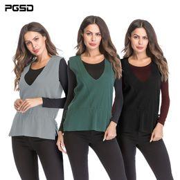 reine einfache kleidung Rabatt PGSD Einfache Mode Lässig Reine farbe Frauen Kleidung V-kragen lose gestrickte pullover Lace Up Sleeveless Split seiten Weste weiblich
