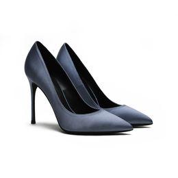 Goddess2019 на высоких каблуках Синяя женщина острый штраф с шелками и атласом оккупация Ол рабочая обувь сторона воздуха Джокер сексуальный один ботинок от
