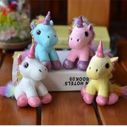 Pequeno brinquedo de pelúcia chaveiro on-line-Colorido Unicorn Plush Backpack Pendant Keychain bicho de pelúcia Plush Chaveiro pequeno pingente Bag Acessórios Stuffed boneca MMA2691-A1