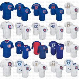 38d39e1d54b Chicago Cubs Baseball Jersey 44 Anthony Rizzo 17 Kris Bryant 9 Javier Baez  12 Kyle Schwarber 49 22 Heyward 23 Ryne Sandberg