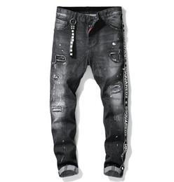 Trous de pantalon en Ligne-Mode de luxe unique de haute qualité des hommes de couture Jeans Designer Men Jeans trou célèbre marque Slim Fit Mens imprimé Jeans Biker Denim Pants 1011