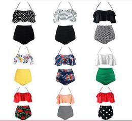 große push-up-bikinis Rabatt 2019 Sex Bikinis Frauen Badeanzug Hohe Taille Badeanzug Big Size Bademode Push Up Bikini Set Vintage Strand Tragen Biquini