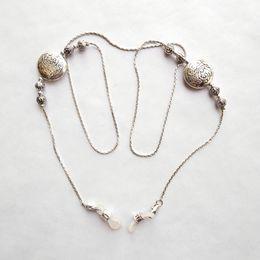 Vintage de placa de bronze on-line-6 peças por lote de óculos de sol de metal cadeia de contas feitas de prata eclectro latão e contas de prata antigo-prata