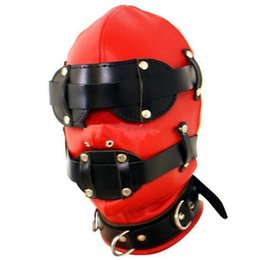 mouth head sex toys Promo Codes - Red PU BDSM Bondage Gear Slave Training Head Hoods with Detachable Mouth Bite Gag Eye Mask Adult Sex Toys for Women HMHD-1001C