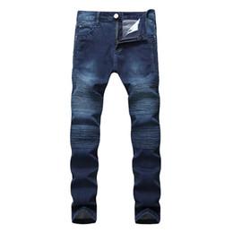 Jeans scarni di lavaggio grigio online-Hi-Street Uomo Strappato Biker Rider Biker Moto Slim Fit lavato nero grigio blu pantaloni jeans Jogging uomini magri