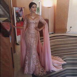 Meerjungfrau quadratischen ausschnitt abendkleider online-Elegante Meerjungfrau Abendkleider 2020 Sexy Pink Square Ausschnitt Langarm mit Wrap Appliqued Arabisch Pageant Formelle Kleider Mutter Kleid