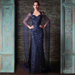 nancy ajram kleider Rabatt Nancy Ajram Navy Abendkleid Mantel Watteau Zug Verstreute Sequined Spitze Ballkleider 2020 Roben de soirée