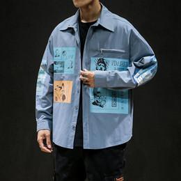 2020 modelos de camisas coreanas 2019 Verão New coreano de mangas compridas solto Quatro Estações explosão Models costura lapela Casual camisa de brim modelos de camisas coreanas barato